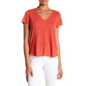 PROJECT SOCIAL T Everyday V Neck Tee Shirt Orange